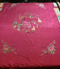 Antique Chinese Splendid Silk Hand Embroidered Wedding Sheet Piano Shawl Tapestr