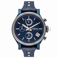 Fossil Original ES4113 Women's Boyfriend Sport Blue Leather Watch 38mm Chrono