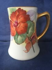 JPL Jean Pouyat Limoges France Hand Painted Flower  Mug Stein