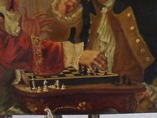 THE GENTLEMEN CHESS PLAYERS - RARE ANTIQUE c1894 OIL PAINTING - SIGNED & DATED