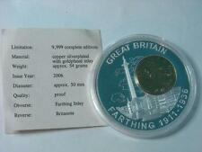 1918 Gold Plated FARTHING Coin Inlay on Silver Plated Proof Britannia Medal COA