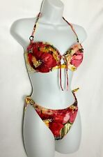 NWOT SHAN Floral Underwire Halter Bikini 2 Piece Swimsuit 12/10 B Reatil $258