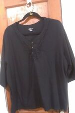 Women's Liz and Me for Catherines Black Shirt Size 4X 30/32W Plus Short Sleeve