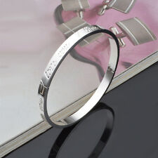 I LOVE YOU Silver Openable 18KGP Bangle Bracelet, Girlfriend Wife Birthday Gift