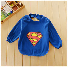 Cute Superman Long Sleeved Infant Baby Dribble Feeding Teething Lunch Bib