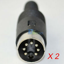 2 x 7Pin 7P DIN Male Plug Jack Cable Connector  Adapter Converter Plastic Handle