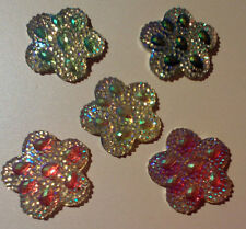 5 x 30mm flower shape sew on stones dance, trim,gem, flat back,stick on