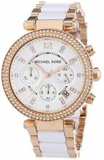 New Michael Kors Parker Rose Gold White Acetate MK5774 Watch for Women