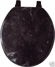 BLACK MARBLE LOOK WOOD TOILET SEAT, STANDARD ROUND