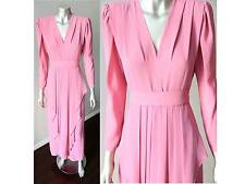 Retro Ruffle Draped Plunging VIntage 80s Pink Belted Layered Pleated Dress S + M