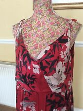 Monsoon ReD Silk Floral Dress Size 18 Ec