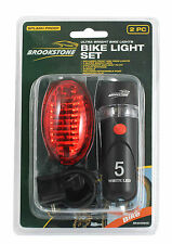 2pc 5 LED Bike Tourch Light Set Waterproof Wide Beam Front & Rear Bag Jacket