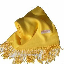 NEW Women Solid 100%Pashmina Wrap Stole Cashmere Wool Shawl/Scarf Soft Yellow