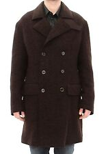 NWT $3300 DOLCE & GABBANA Brown Double Breasted Long Peacoat Jacket IT48 /US38/M