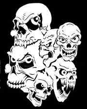 high detail airbrush stencil six joined skulls  FREE UK POSTAGE