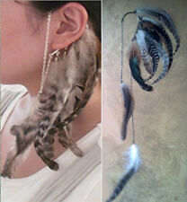 BOHO HIPSTER HIPPIE LONG GRIZZLY FEATHER EAR CUFF WRAP DANGLE CHAINS EARRING