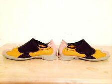 PRADA New Yellow W/ Contrast Brown Leather And Suede Sneakers SZ 381/2. (81/2)