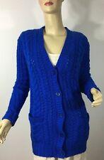 Ralph Lauren Cableknit Sweater Womens Small Blue Cashmere Cotton New