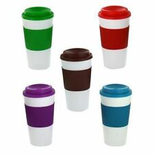 Thermal Insulated Cup Coffee Tea Plastic Travel Mug Takeaway Lid 450ml 16oz