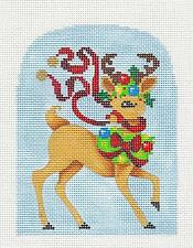 "*NEW* ""Tis the Season Reindeer"" handpainted Needlepoint Canvas ~ Brenda Stofft"