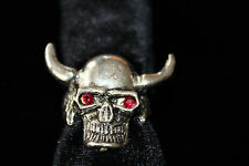Skull Ring with Horns, Red Jewel Eyes & Big Teethy Grin costume Halloween Unisex