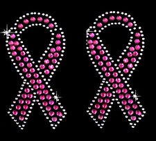 """PINK RIBBON"" RHINESTONE IRON ON HEAT TRANSFER BLING MOTIF 2PC SET (2.2 X 3.75"")"