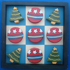 Wooden Christmas Tree and Ornament tic tac toe game coffee table décor