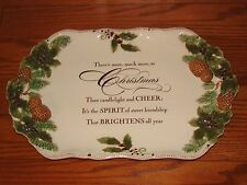 GRASSLANDS ROAD Christmas Platter Ivory w/ Pine Cones Holly Friendship Message