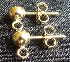 Solid 14Kt gold 4mm ball post earrings with open loops earring supplies findings