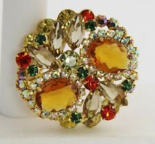 VINTAGE Jewelry D&E JULIANA FALL COLOR RHINESTONE LAYERED STACKED BROOCH