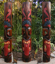 "Tribal Tiki Wood Wall Mask Patio Tropical Bar Decor 40"" tall Tahitian Tongue"