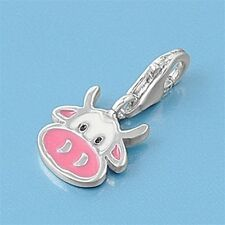 Pink Cow Pendants Sterling Silver 925 Fashion Children's Charms Jewelry Gift