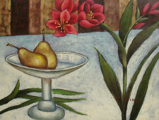 """Contemporary Oil Painting Still Life Red Flowers by Fruit Pear on Plate 12x16"""""""
