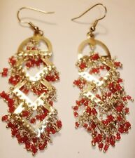 Red Glass Beaded Dangle Earrings-1970's Vintage-NEW-India-Silvertone-PIERCED