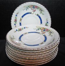 Johnson Brothers Eastbourne Pareek Old English Floral Blue Band 9 Saucers