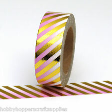 Washi Tape Pink Gold Foil Candy Stripes 10 Metres