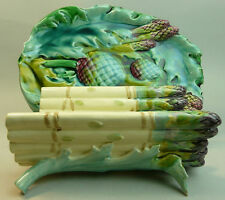 VICTORIAN LUNEVILLE FRENCH MAJOLICA POTTERY ASPARAGUS DISH & STAND C.1880
