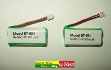 2 x BT-694 BT-694S 2.4V 800mAh Rechargeable Ni-MH Replacement battery for Uniden