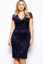 WOMENS NAVY BLUE LACE PARTY CLUB WEAR BODYCON MIDI DRESS EVENING SIZE 12 & 14