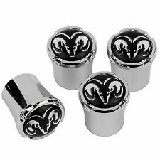Dodge RAM Head Logo Tire Valve Stem Caps MADE IN USA - Black and Silver