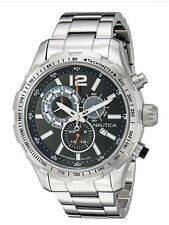 NWT Men's Nautica Chronograph Black Dial Steel  Watch NAD18504G MSRP $185