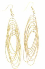 Gold tone dangle loop chandelier earrings