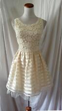 NEW ARK & CO CREAM CROCHET Bodice ORGANZA Striped TULLE COCKTAIL Mini DRESS M