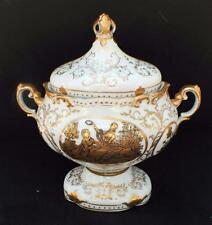 "Vintage FRAGONARD Scenes White Gold 9 1/2""h Footed 2 Handles Urn Vase with Lid"