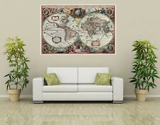 ANCIENT WORLD MAP 16th CENTURY Photo Wall Mural Poster ANTIQUE Decor 118 X 84