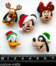 Disney CHRISTMAS HEADS Craft Buttons Mickey Mouse Minnie Holiday Goofy Animals