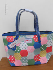 GENUINE CATH KIDSTON PATCHWORK SPOT SMALL LEATHER TRIM TOTE:BLUE MIX RRP£60 BNWL