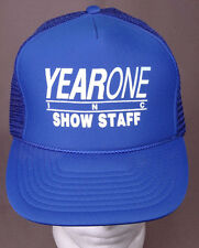 Year One Inc, Show Staff Trucker Hat-Blue-Mesh-3D Logo-Vtg-Classic Muscle Car