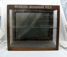 Country Store Counter Top - MERCERS DELICIOUS PIES - Antique Display Cabinet -