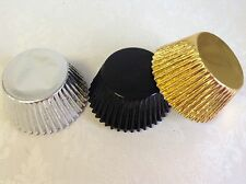 *NEW* Mix of 30 BLACK, GOLD & SILVER Foil Muffin/Cup cake cases